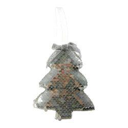 Fenyőfa flitteres 12x10cm ezüst