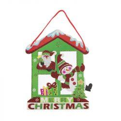 Akasztós dísz glitteres Merry Christmas felirattal hóemberrel polyfoam 25x16cm  zöld, fehér