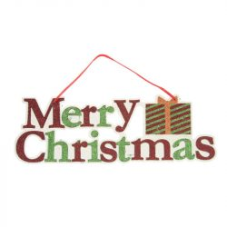 Merry Christmas felirat glitteres akasztós polyfoam 42x14cm piros,zöld,fehér
