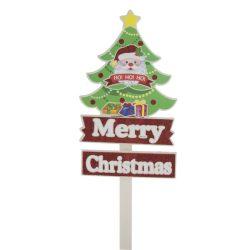 Fenyőfa mikulással betűzős Merry Christmas felirattal fa/polyfoam 70x20cm piros,fehér