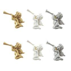 Angyal öntapadós poly 2,8x3,6x1 cm fehér,arany ezüst S/6