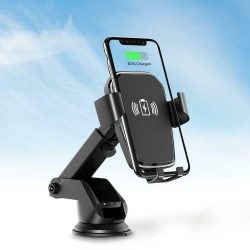 Autós vezeték nélküli töltő telefon tartó - Fekete