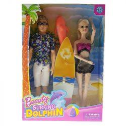 Babák szörfdeszkával és delfinnel