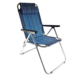 Camping szék állítható  karfás, fejpárnás
