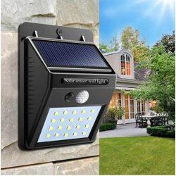Mozgásérzékelős, napelemes kültéri 20 LED-es lámpa