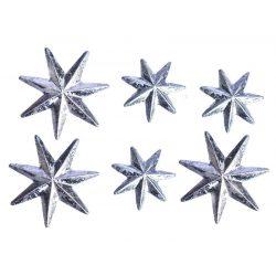 Csillag ragasztós  4x6cm ezüst